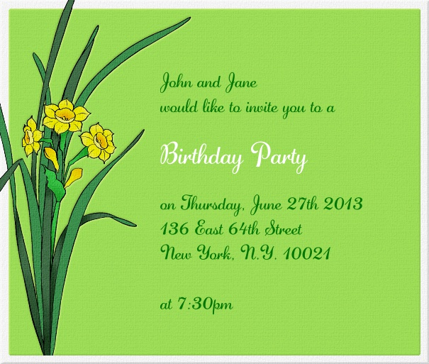 Green, spring-like Invitation Template with daffodils.