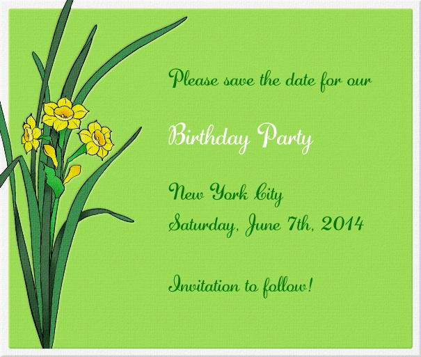 Green Spring Themed Seasonal Party Save the Date Card with Flowers.