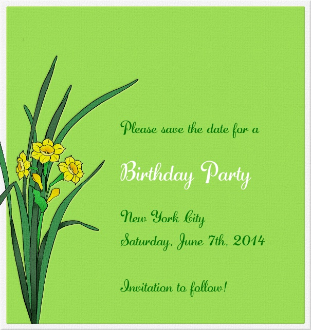 High Green Spring Themed Seasonal Party Save the Date Card with Flowers.