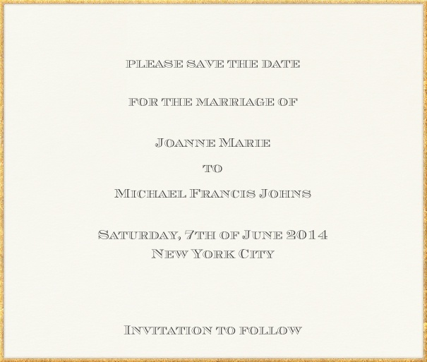 Online Wedding Save the Date Card with golden Border.