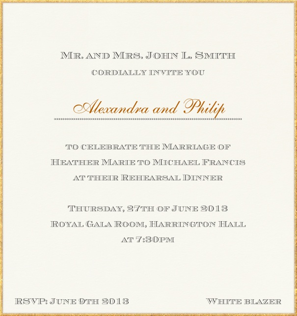 Classic Engagement Party Invitation with golden frame.