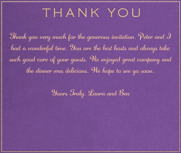 Purple Thank You Card With Gold Text.