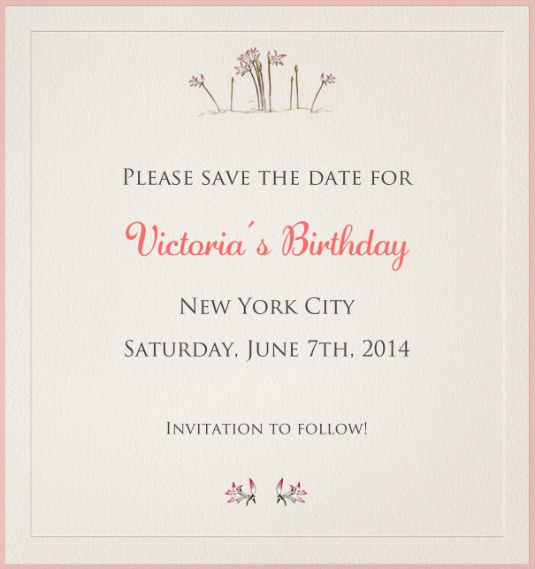 High Light Grey Spring Themed Seasonal Party Save the Date Card with Flower Header.