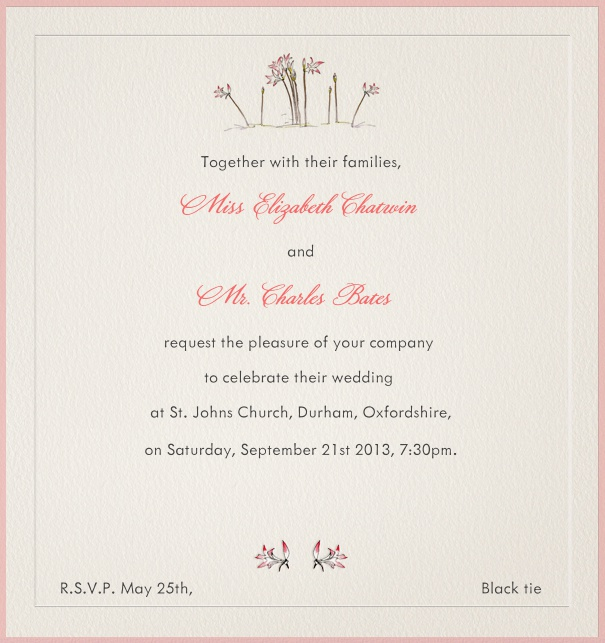 Beige Spring Dinner Invitation with pink border and flowers.
