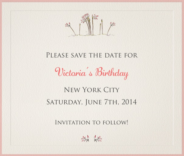 Light Grey Spring Themed Seasonal Party Save the Date Card with Flower Header.