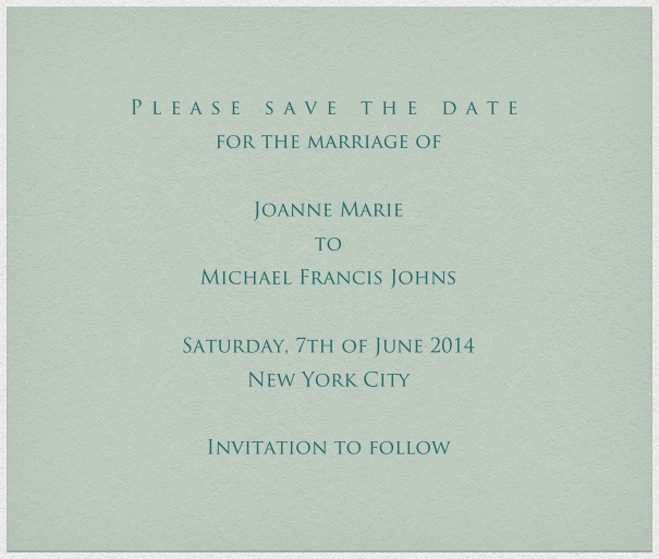 Grey blue online Wedding Save the Date Card with white Border.
