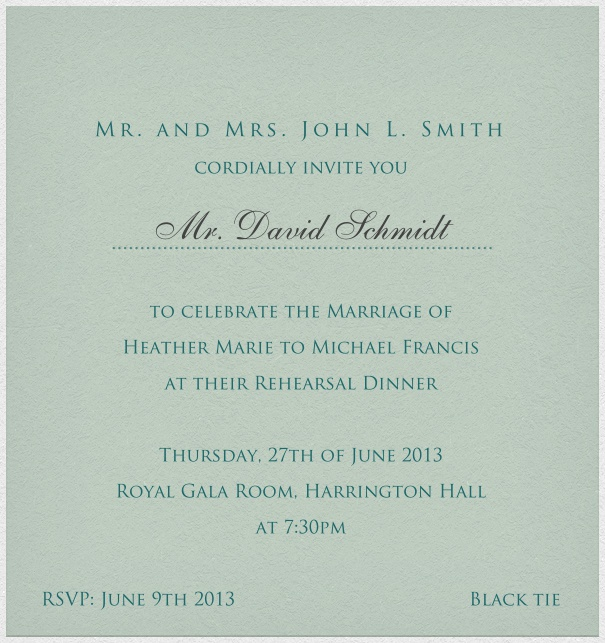 Light green, classic Wedding Invitation Card with customizable text box and space for recipient names.