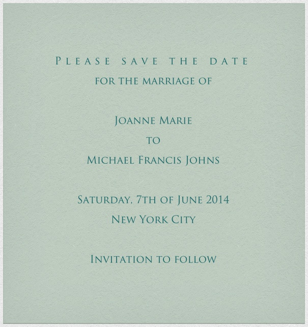 Grey blue online Wedding Save the Date high format Card with white Border.