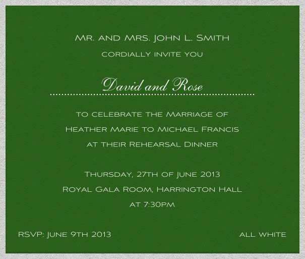 Square green, classic Party or Wedding Invitation template.