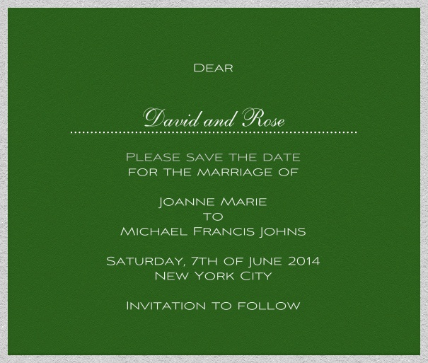 Green online Wedding Save the Date Card with white Border.