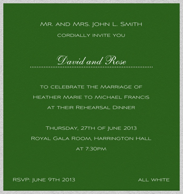 Green, classic Party or Wedding Invitation Card.