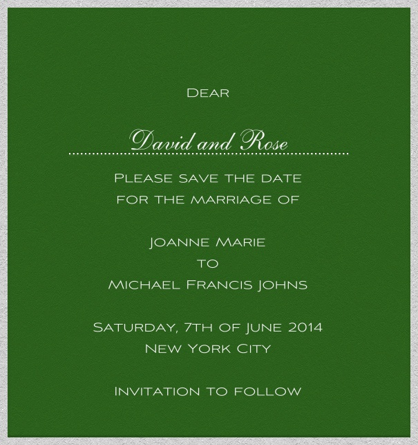 Green online Wedding Save the Date high format Card with white Border.
