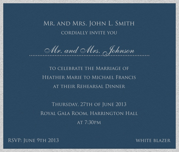 Blue, classic Dinner or Cocktail Invitation card.