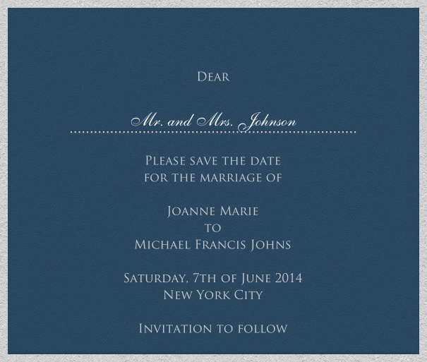 Blue online Wedding Save the Date Card with white Border.