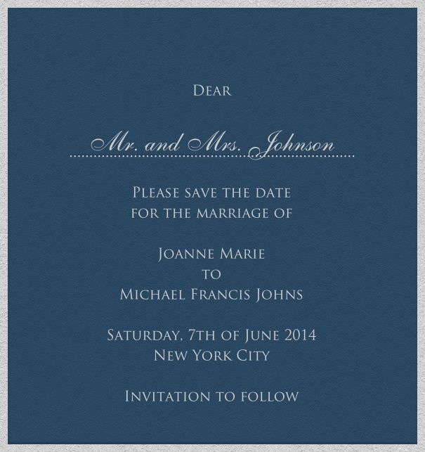 Blue online Wedding Save the Date high format Card with white Border.