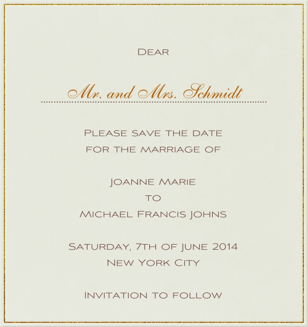Online Wedding Save the Date high format Card with golden Border.