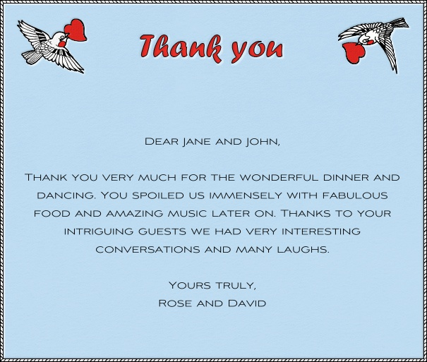Light Blue Thank You Card with Two Birds.