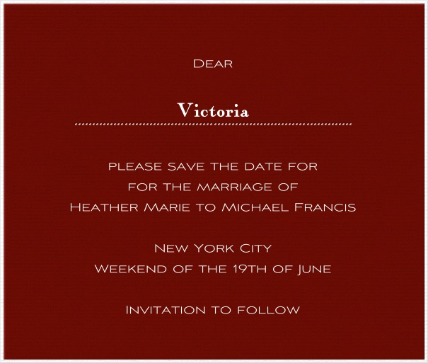 Red online Wedding Save the Date Card with white Border.