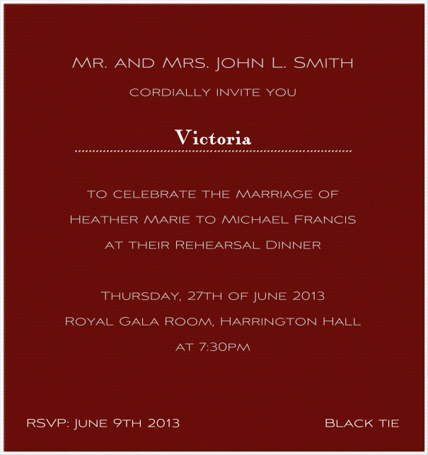 Red, classic Invitation Card with white font.