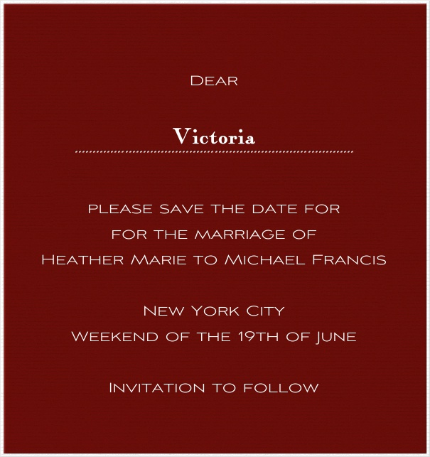 Red online Wedding Save the Date high format Card with white Border.