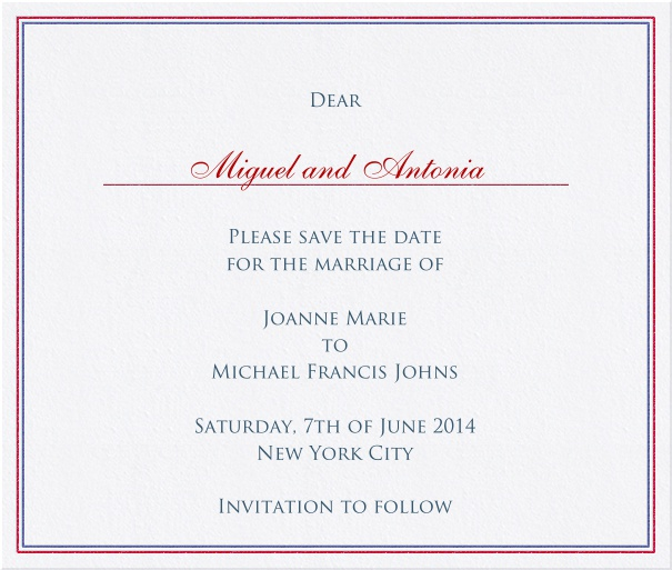 Wedding Save the Date Card with red and blue border.