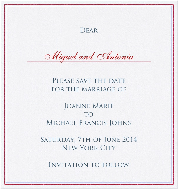 High format Wedding Save the Date Card with red and blue border.