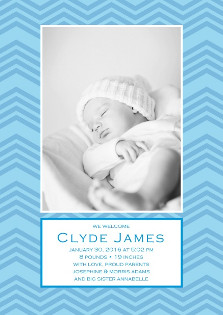 Online Birth annoucement with colorful frame with waves, photo and editable text.