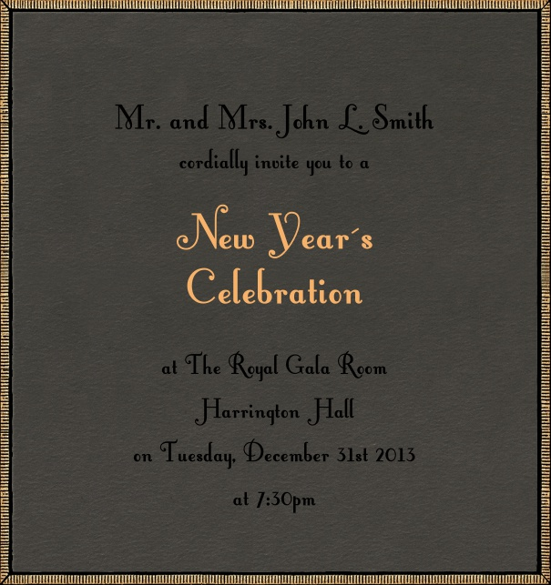 Grey celebration high format invitation card with golden border.