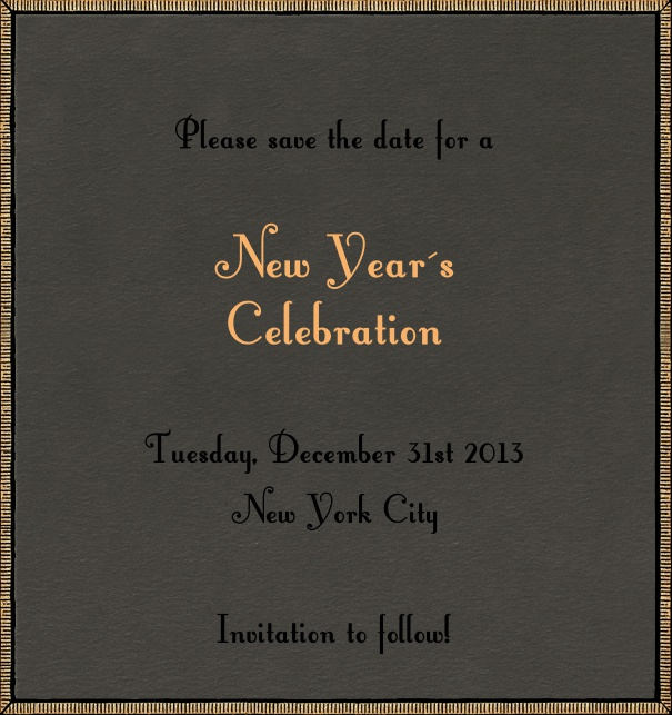 High Dark Tan Celebration Save the Date Design with gold border.