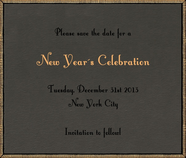 Dark Tan Celebration Save the Date Design with gold border.