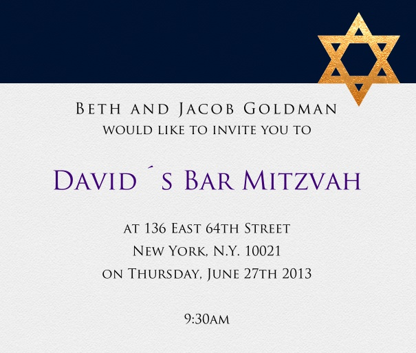 Blue and White Bar Mitzvah Invitation or Bat Mitzvah Invitation with Gold Star of David.