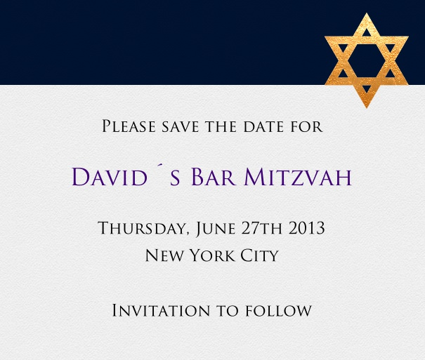 Grey and Black Bar Mitzvah or Bat Mitzvah Save the Date Card with Star of David