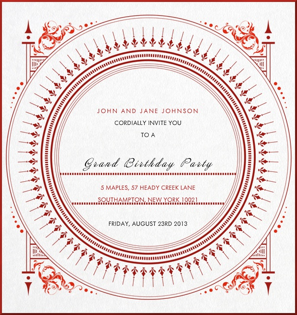 Graphic Birthday Party Invitation with artistic red ornaments.