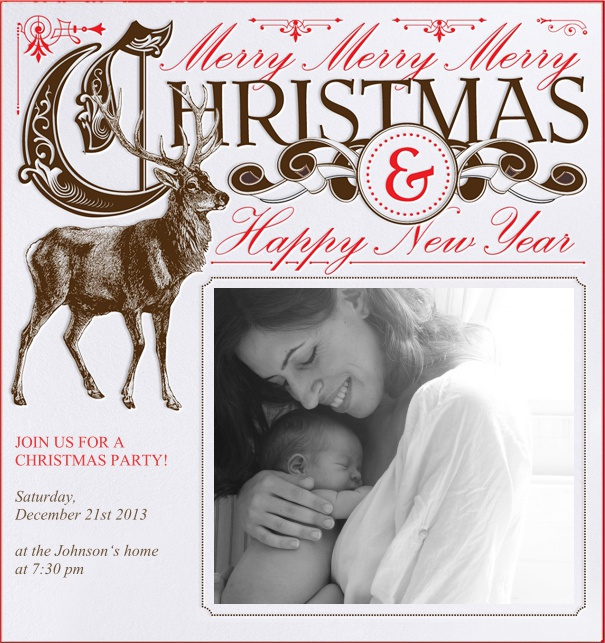 Online Christmas Photo Card with Reindeer, Christmas and Happy New Year Text.