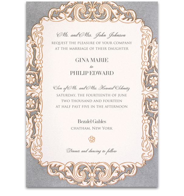 Formal Wedding Invitation with lavender and pink artwork frame and purple font.
