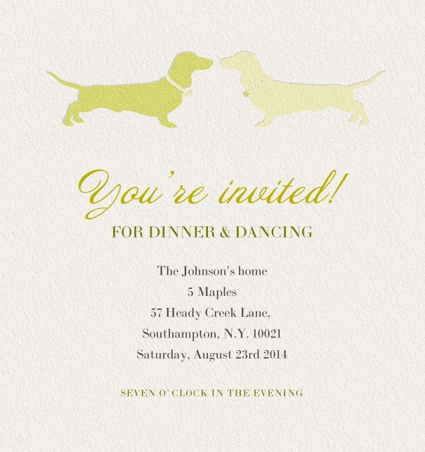 Beige Dinner Invitation themed with green dogs at the topcentre and editable text field.
