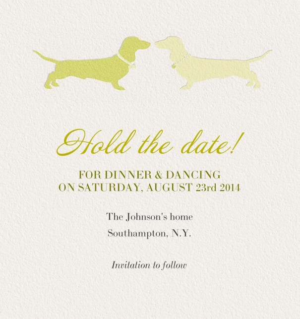 Online Save the Date Card for partys with dogs and editable textfield.