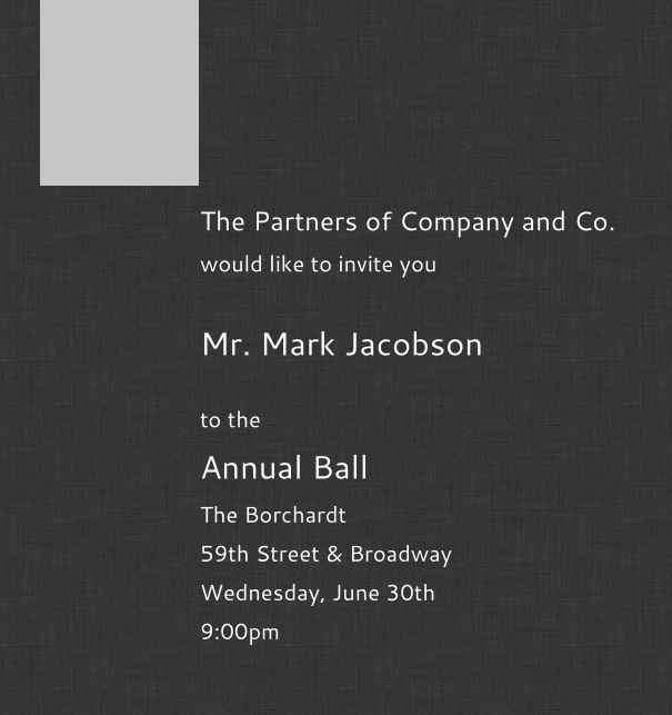 Dark Grey Corporate Formal Invitation card in high format with Logo.