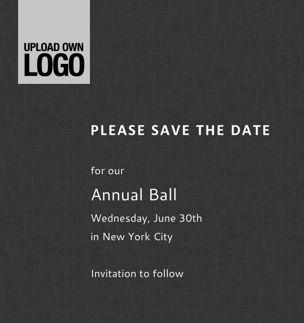 Rectangular online Save the Date template for corporate events and annual ball with dark background, space to upload own logo on top left and event details box.