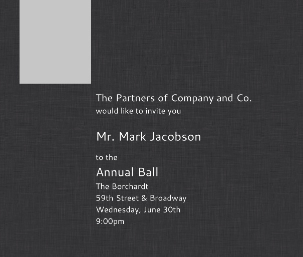 Dark Grey Corporate Formal Invitation with Logo.