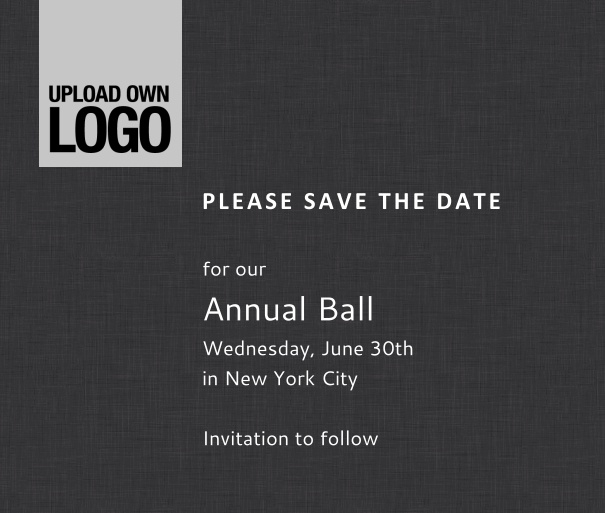 Squared online Save the Date template for corporate events and annual ball with dark background, space to upload own logo on top left and event details box.