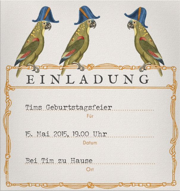 Online Einladungskarte Mit Ausfüllbaren Feldern Zur Adressierung Und Drei  Papageien Oben Mittig.