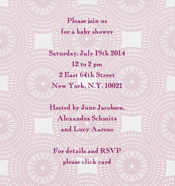 Pink Baby Shower Invitation with geometric background.