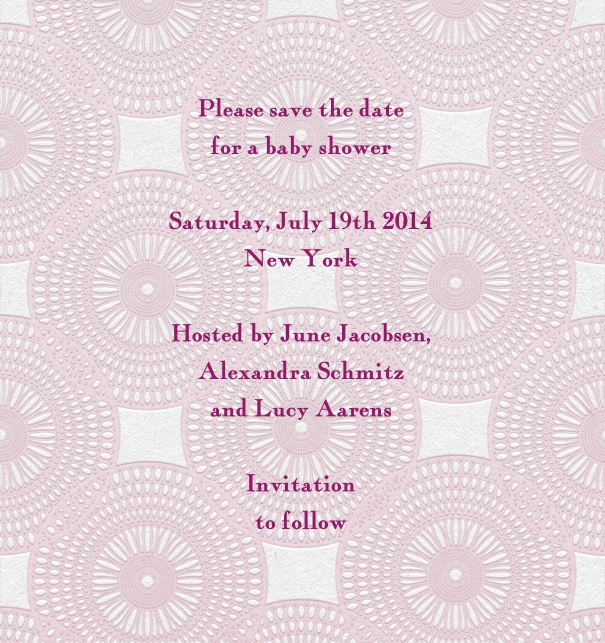 Pink Save the Date Template for baby showers with geometric background.