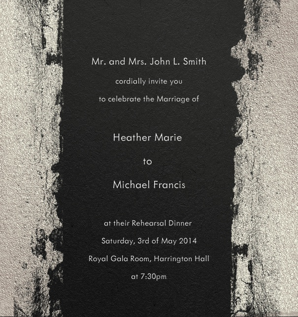 Black, formal Invitation for weddings with black and grey border.