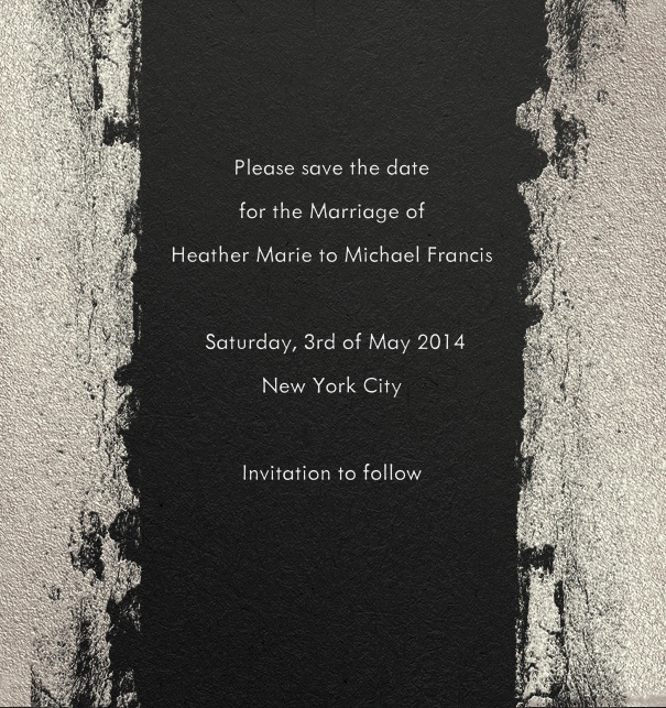 Black Modern Formal Save the Date Card for Weddings with Black and Grey border.