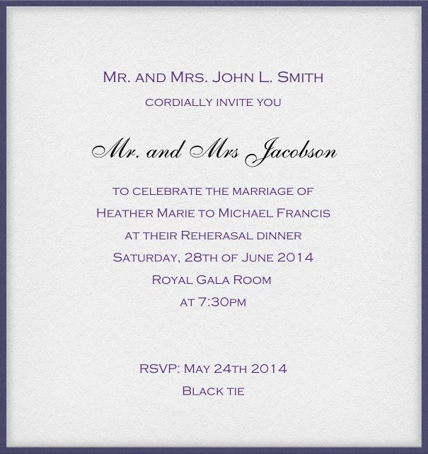 Classic white formal invitation card with blue frame and recipient name box.