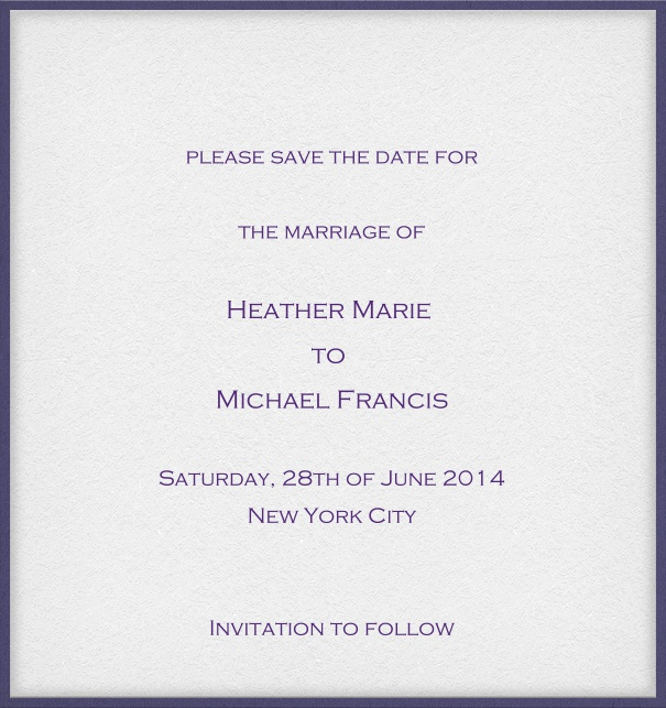 White classic formal high format Save the Date Card with thin blue border and personal addressing of recipients.