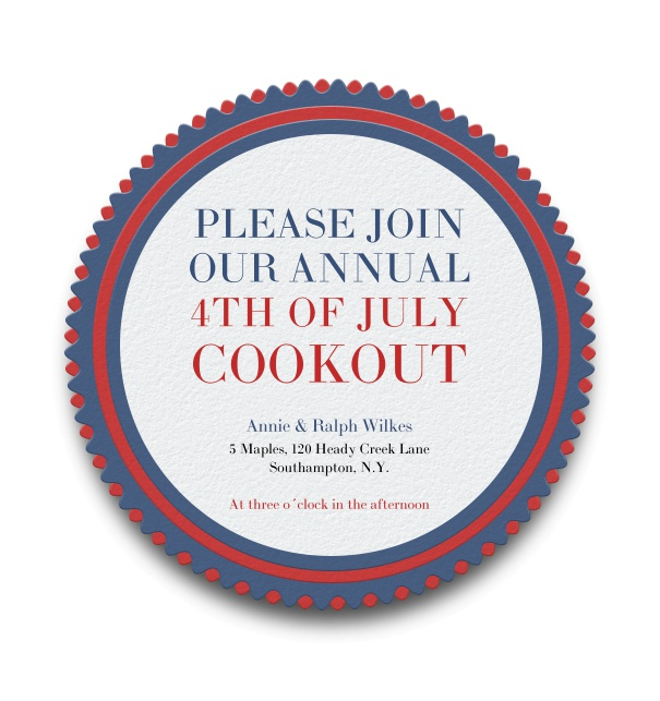 White online Invitation with round American Theme.