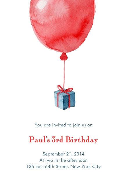 Online Birthday invitation card with red balloon and present.